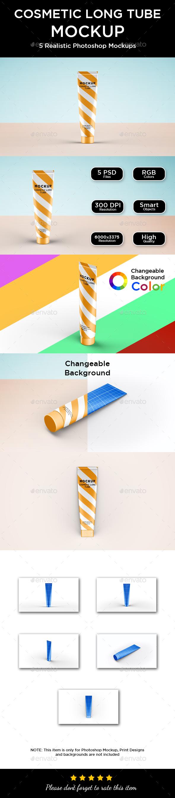 Cosmetic Tube Mockup - Long - Packaging Product Mock-Ups
