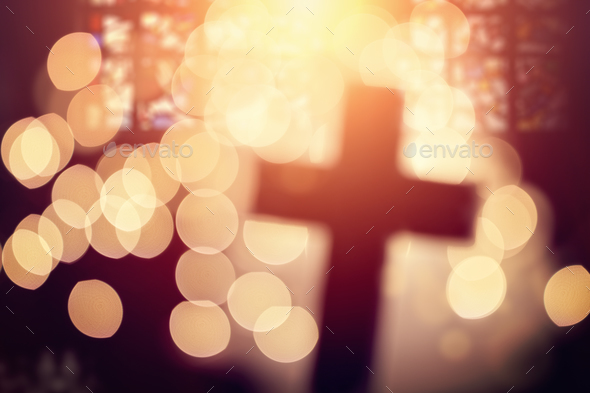 Abstract cross in church interior - Stock Photo - Images