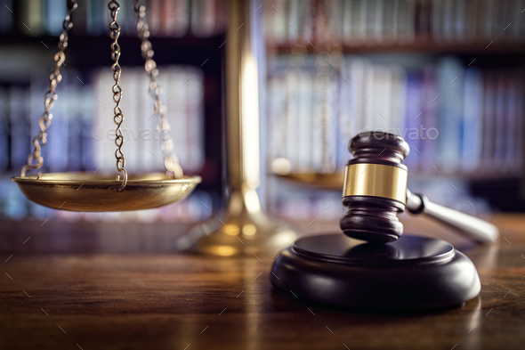Gavel, scales of justice and law books - Stock Photo - Images
