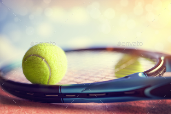 Tennis racket and ball - Stock Photo - Images