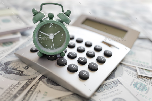 Calculator and alarm clock - Stock Photo - Images