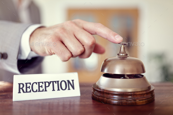 Hotel reception service bell - Stock Photo - Images