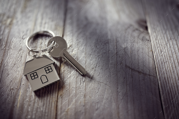 House key on keychain - Stock Photo - Images