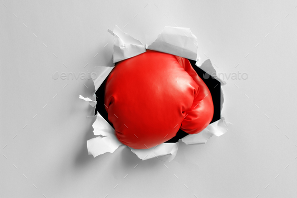 Boxing glove knockout punch - Stock Photo - Images