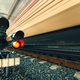 High speed passenger train on tracks with motion blur effect at - PhotoDune Item for Sale