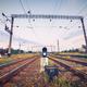 Train platform and traffic light at sunset. Railroad. Railway st - PhotoDune Item for Sale