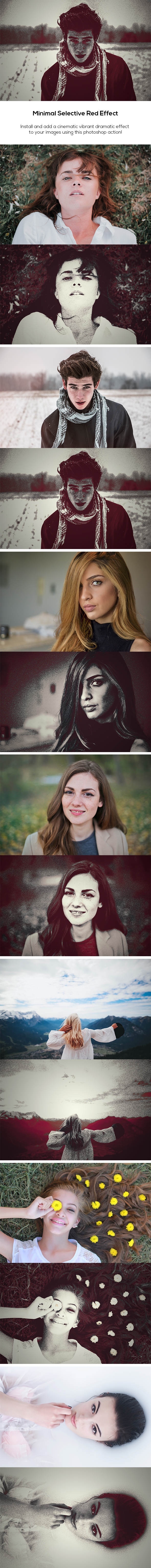 Minimal Selective Red Effect - Photo Effects Actions