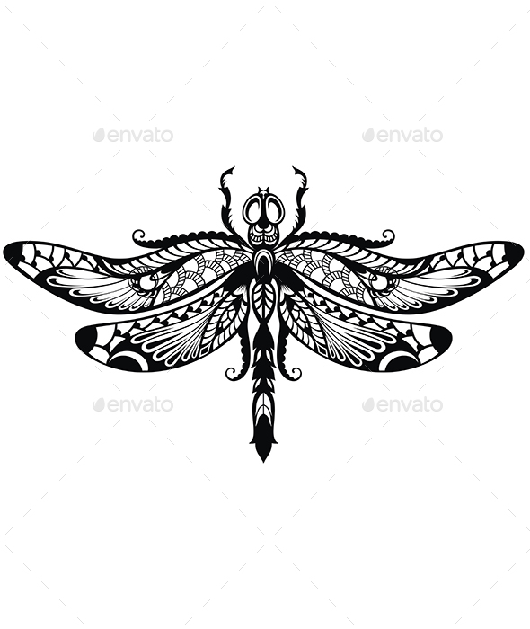 Dragonfly Tattoo - Tattoos Vectors