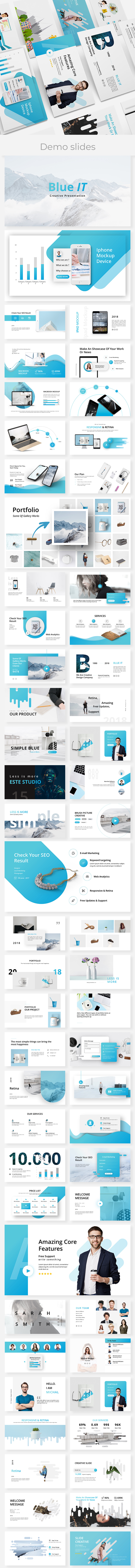 BlueIT Creative Google Slide Template - Google Slides Presentation Templates