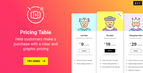 WordPress Pricing Table Plugin - CodeCanyon Item for Sale