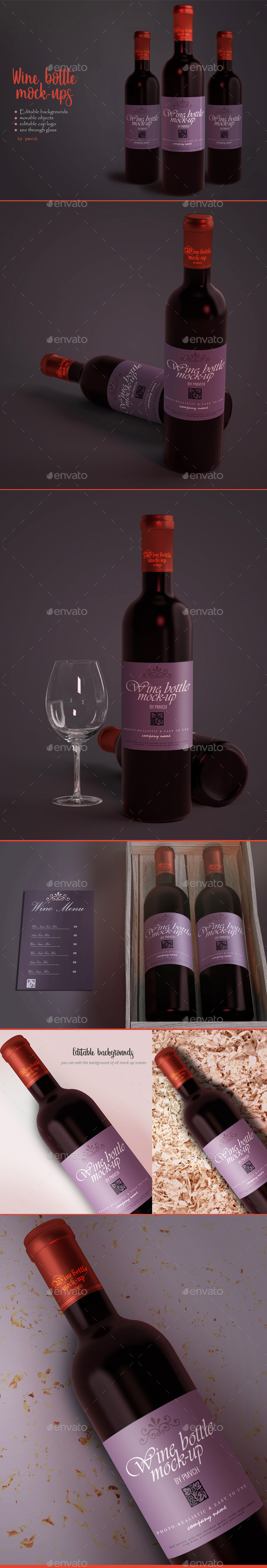 Wine Bottle / Label Mockups - Food and Drink Packaging