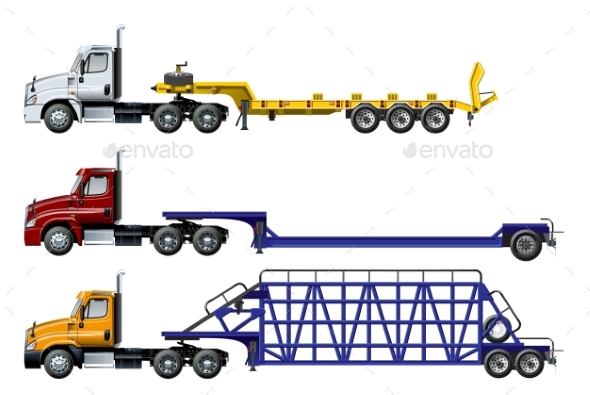 Vector Spec Trucks Set Template Isolated on White - Man-made Objects Objects