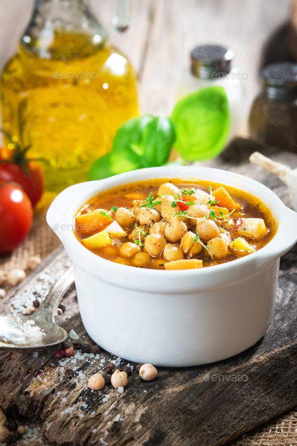 Chick pea stew with vegetable - Stock Photo - Images