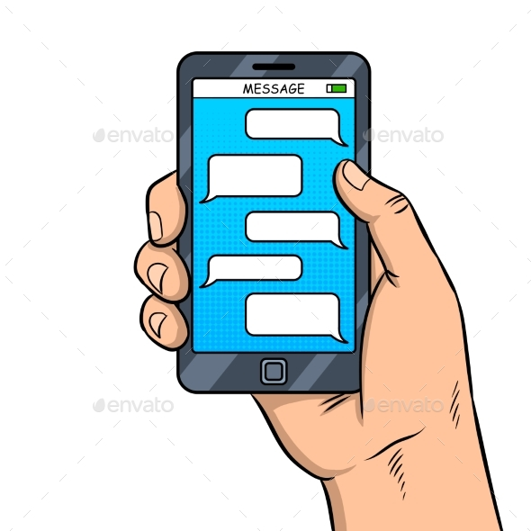 Smart Phone Messaging Pop Art Vector - Communications Technology