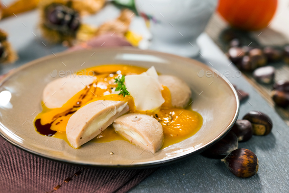 Chestnut gnocchi with pumpkin sauce - Stock Photo - Images