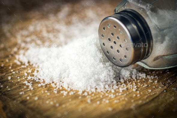 Salt on wooden background - Stock Photo - Images