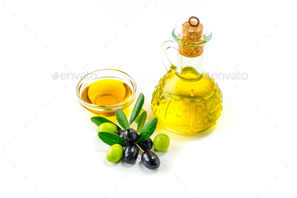 Organic olive oil with  olives - Stock Photo - Images