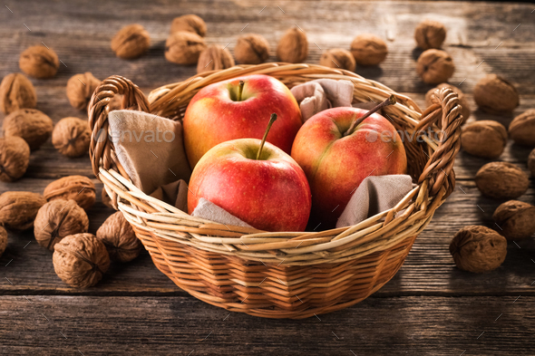 Apple on wooden background - Stock Photo - Images