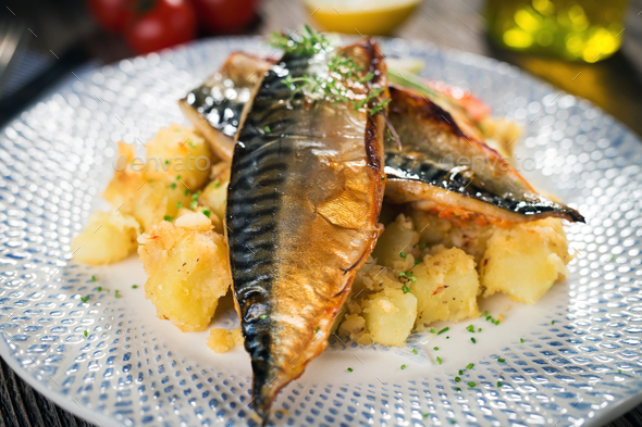 Roasted mackerel fillet with potato - Stock Photo - Images