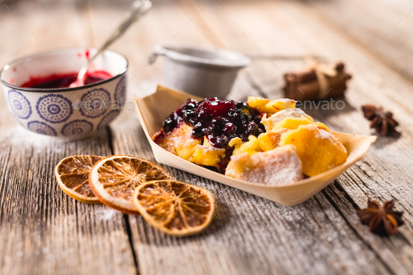 Typical austrian dessert  Kaiserschmarrn - Stock Photo - Images