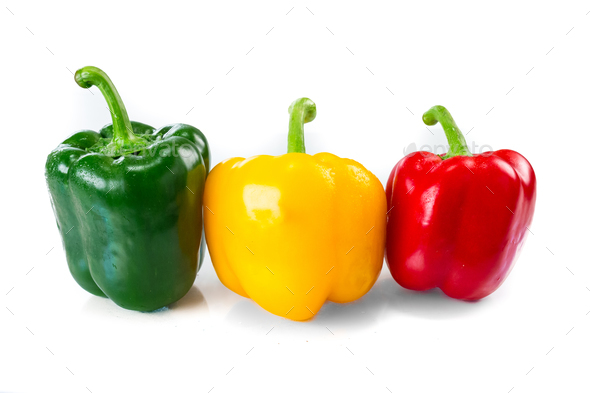 Sweet bell pepper isoalted on white - Stock Photo - Images