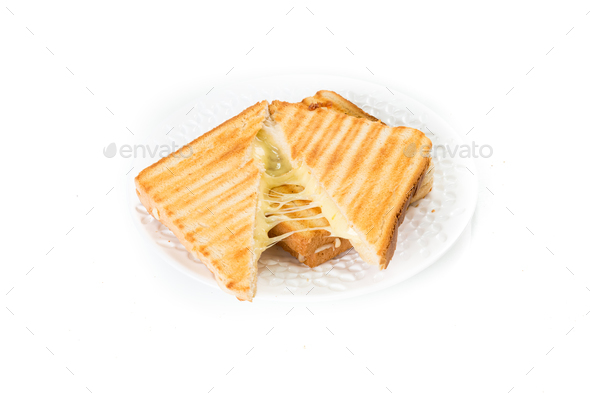 Toast sandwich with cheese isolated on white - Stock Photo - Images