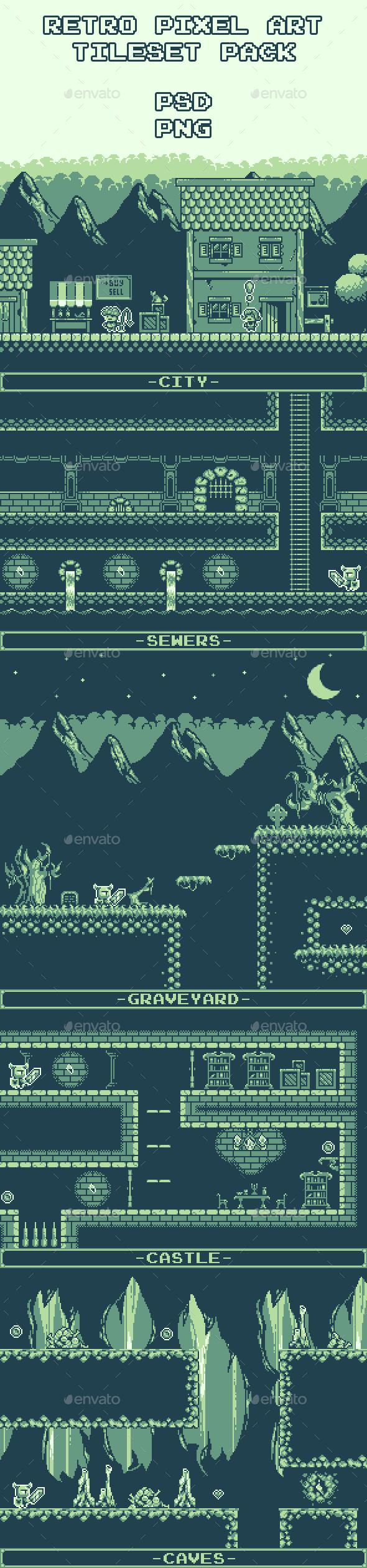 Retro Pixel Art Tileset Pack - Tilesets Game Assets