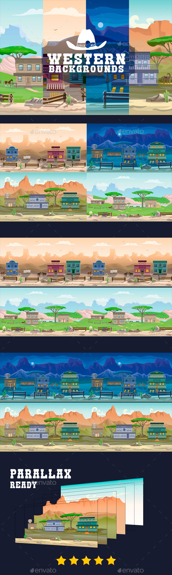 Parallax Western Backgrounds - Backgrounds Game Assets
