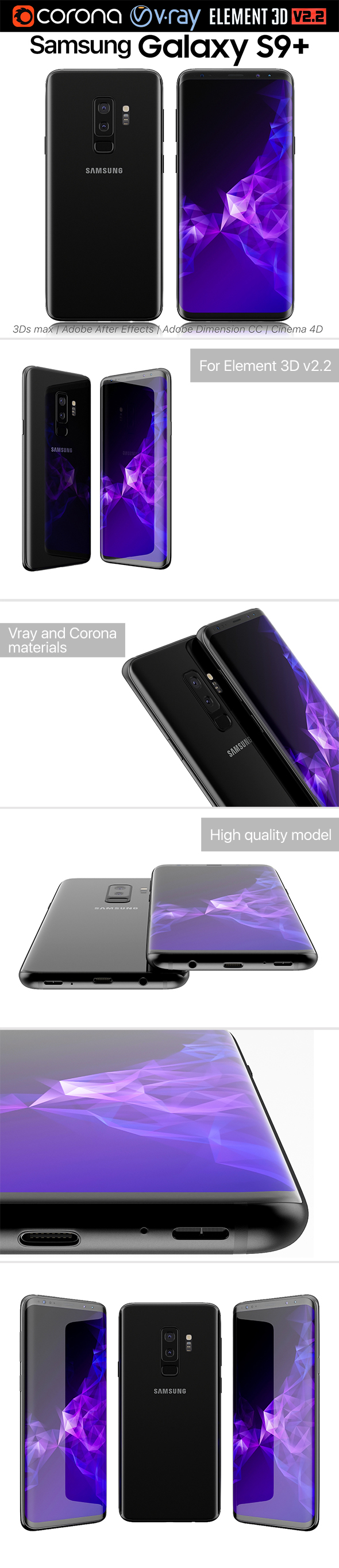 Samsung Galaxy S9 PLUS Black - 3DOcean Item for Sale