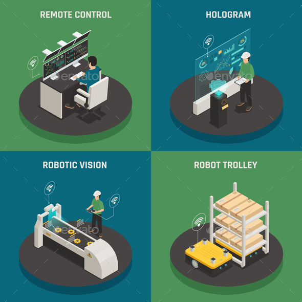 Smart Manufacturing Isometric Icons Concept - Industries Business