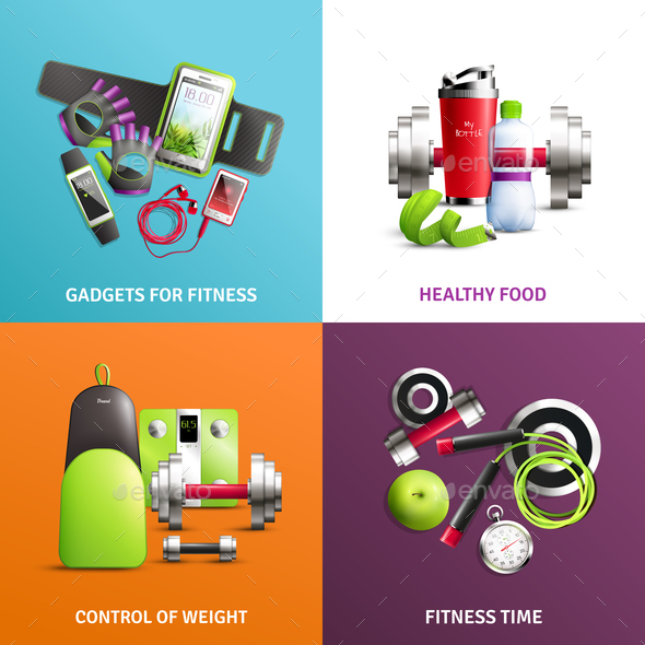 Fitness Gym Concept Icons Set - Food Objects
