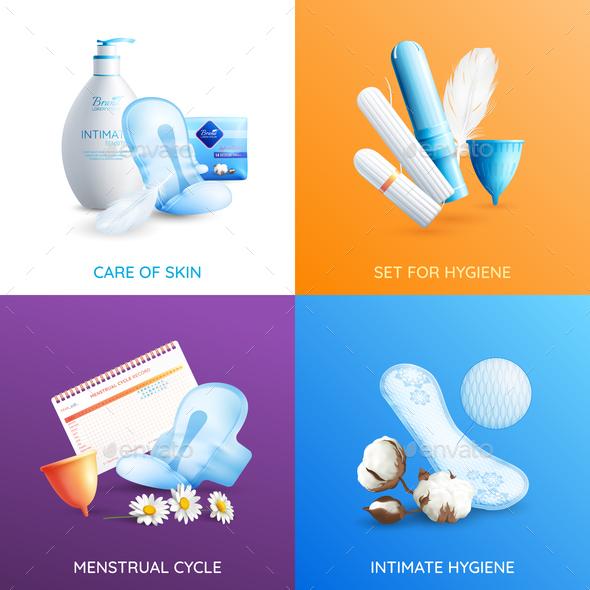 Feminine Hygiene Concept Icons Set - Miscellaneous Vectors