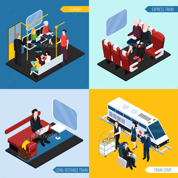 Train Interior Passengers Isometric Concept - Travel Conceptual
