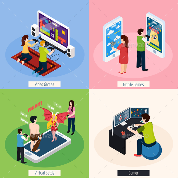 Gamers Isometric Design Concept - Sports/Activity Conceptual