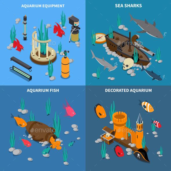 Aquarium Concept Icons Set - Food Objects