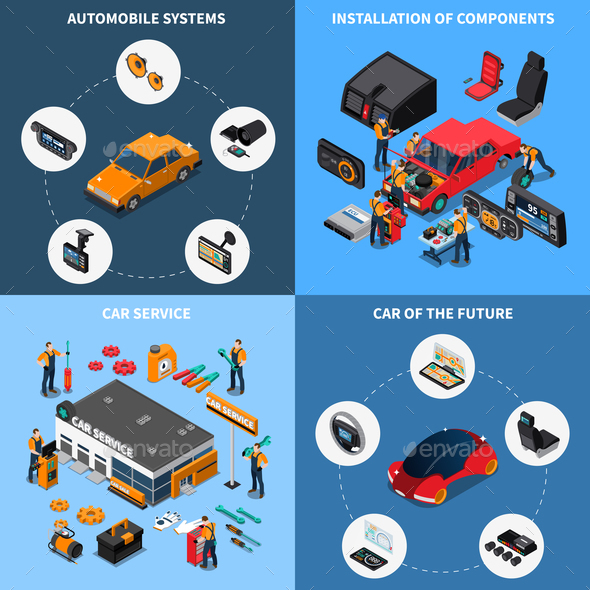 Car Electronics Concept Icons Set - Industries Business