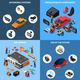 Car Electronics Concept Icons Set