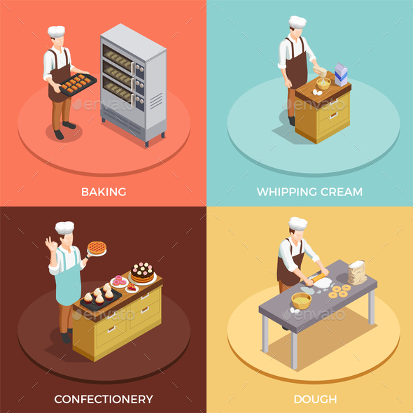 Confectionery Chef Concept Icons Set - Food Objects