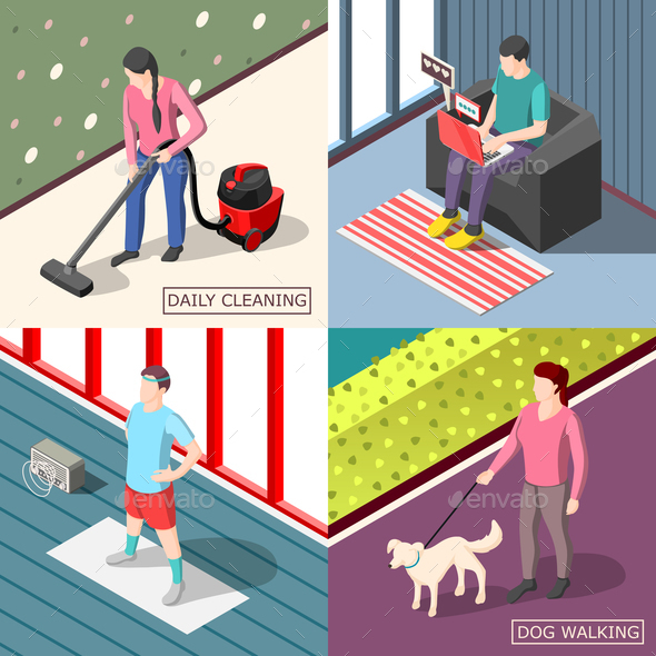Daily Routine 2x2 Isometric Design Concept - Sports/Activity Conceptual