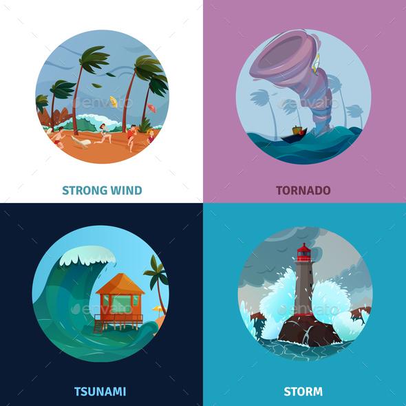 Seaside Landscapes Concept Icons Set - Landscapes Nature