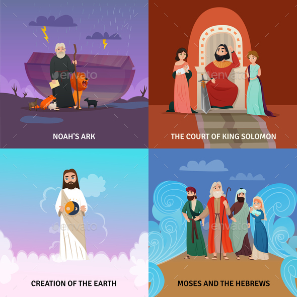 Bible Story Concept Icons Set - Religion Conceptual
