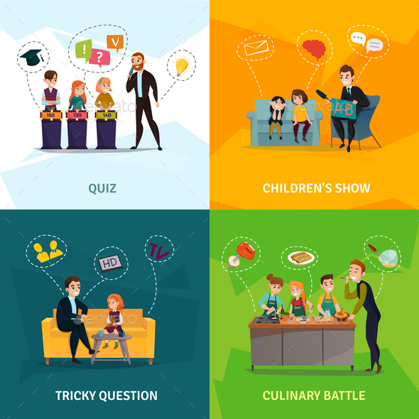 Kids  Show Concept Icons Set - Sports/Activity Conceptual