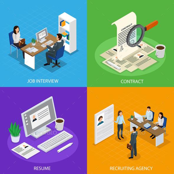 Employment Recruitment Isometric Concept - Miscellaneous Conceptual