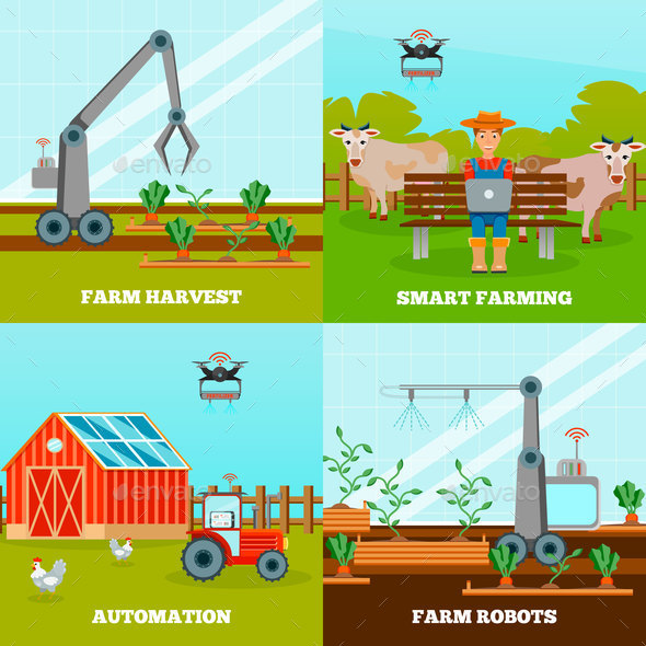 Smart Farming 2x2 Design Concept - Industries Business