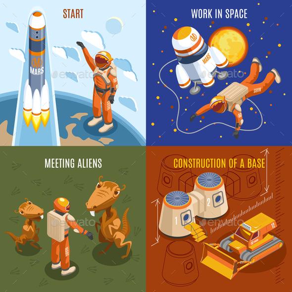 Space Exploration Isometric Design Concept - Travel Conceptual
