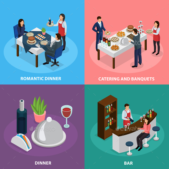Catering Banquet Isometric Concept - Food Objects