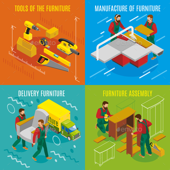 Furniture Makers Isometric Design Concept - Industries Business