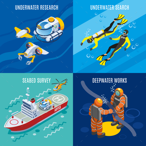 Undersea Depths Research Isometric Concept - Miscellaneous Vectors