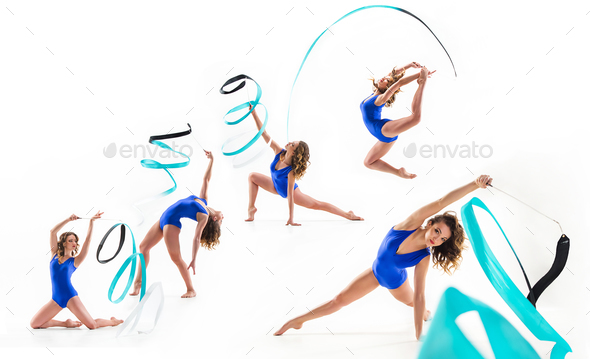 The collage from images of beautiful female gymnast isolated on white - Stock Photo - Images