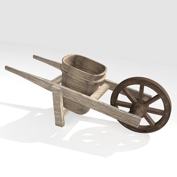Wooden Wheelbarrow - 3DOcean Item for Sale